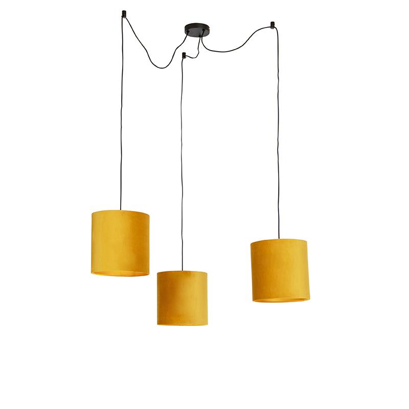 Hanglamp met 3 velours kappen geel met goud - Cava