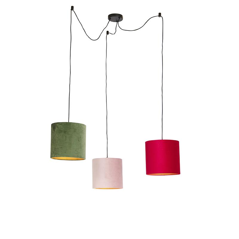 Hanglamp met velours kappen rood, groen en roze - Cava