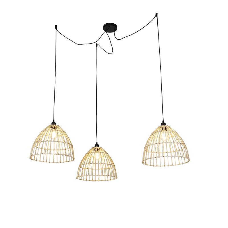 Landelijke hanglamp met 3 rotan kappen - Cava