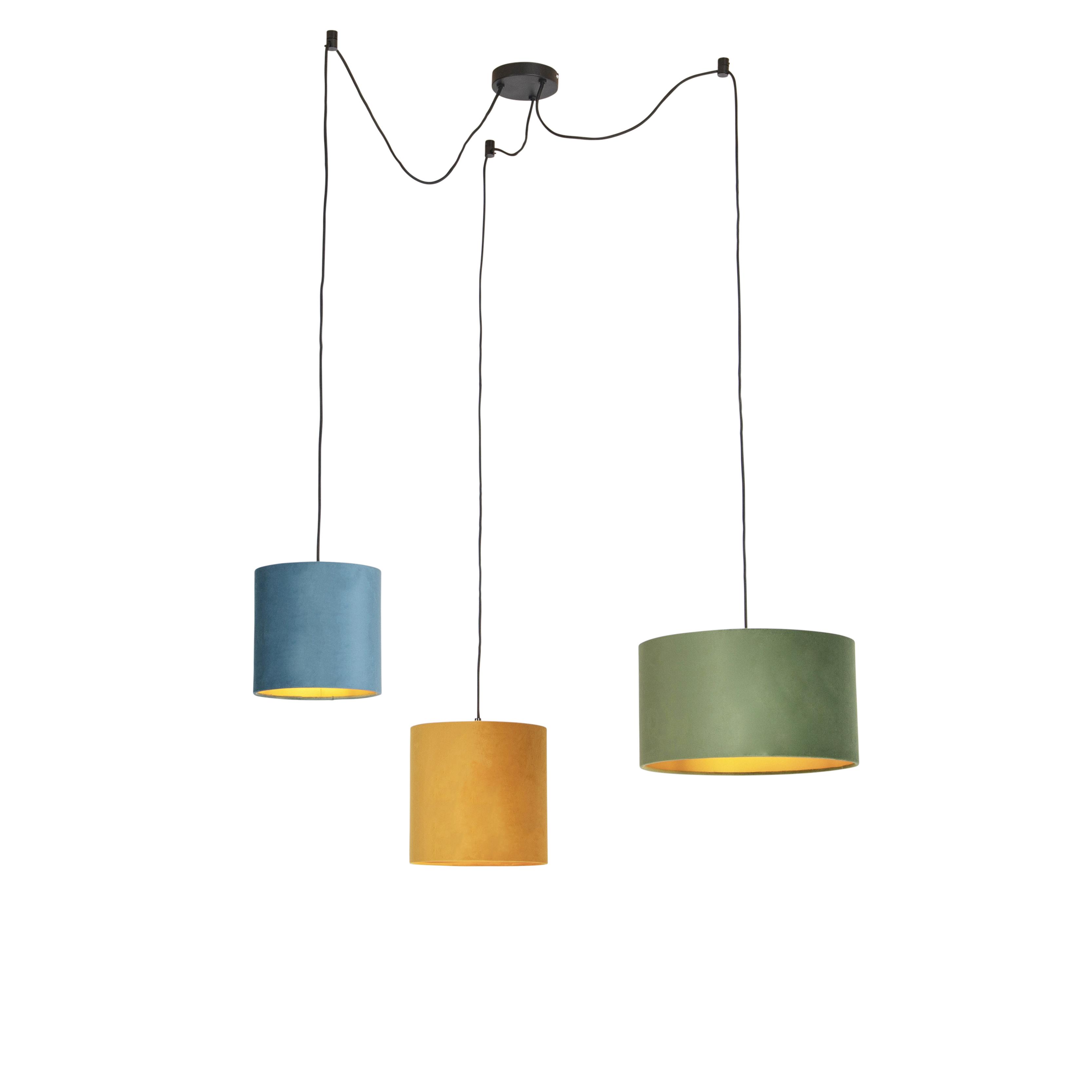 Hanglamp met velours kappen groen, geel en blauw - Cava