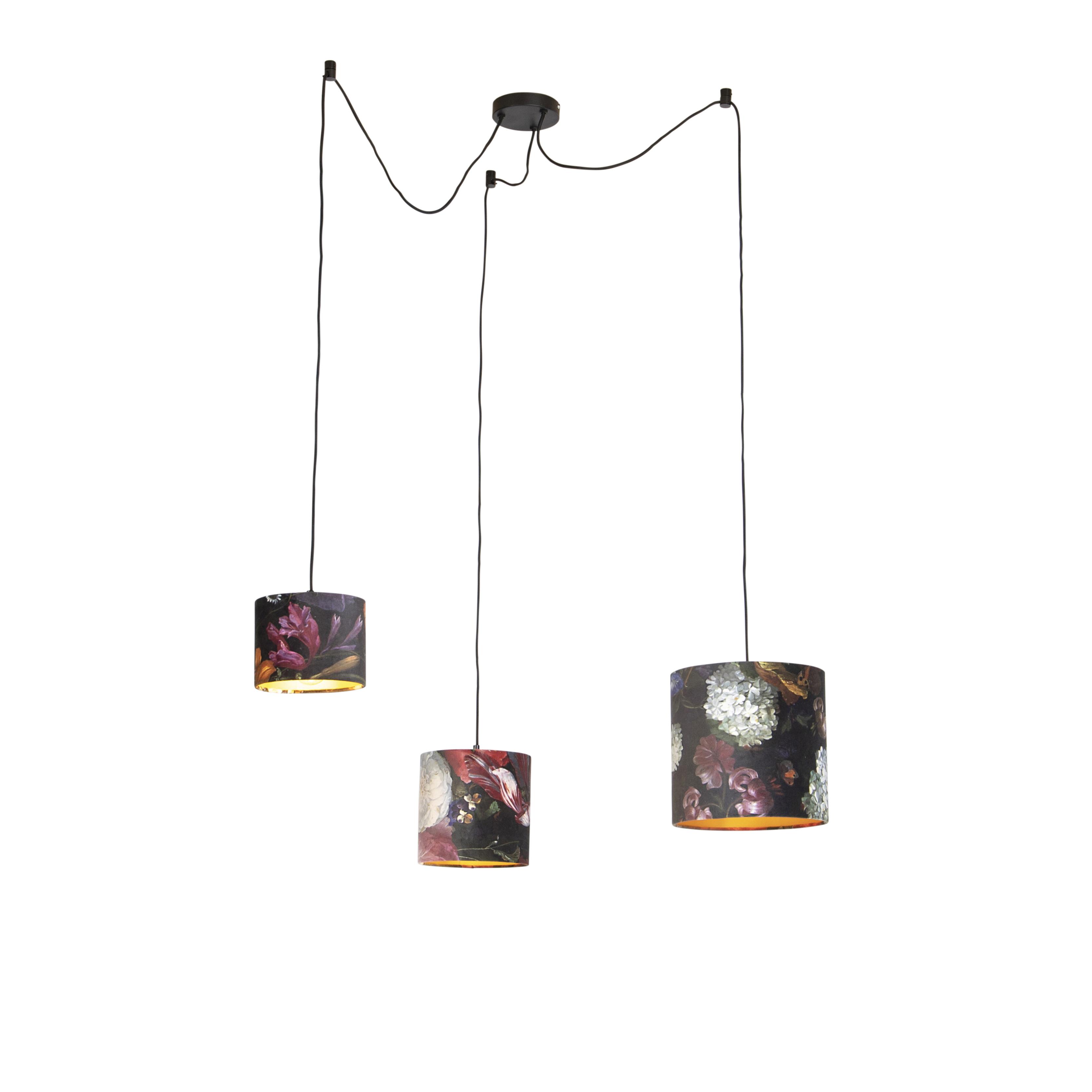 Hanglamp met 3 velours kappen bloemen met goud - Cava