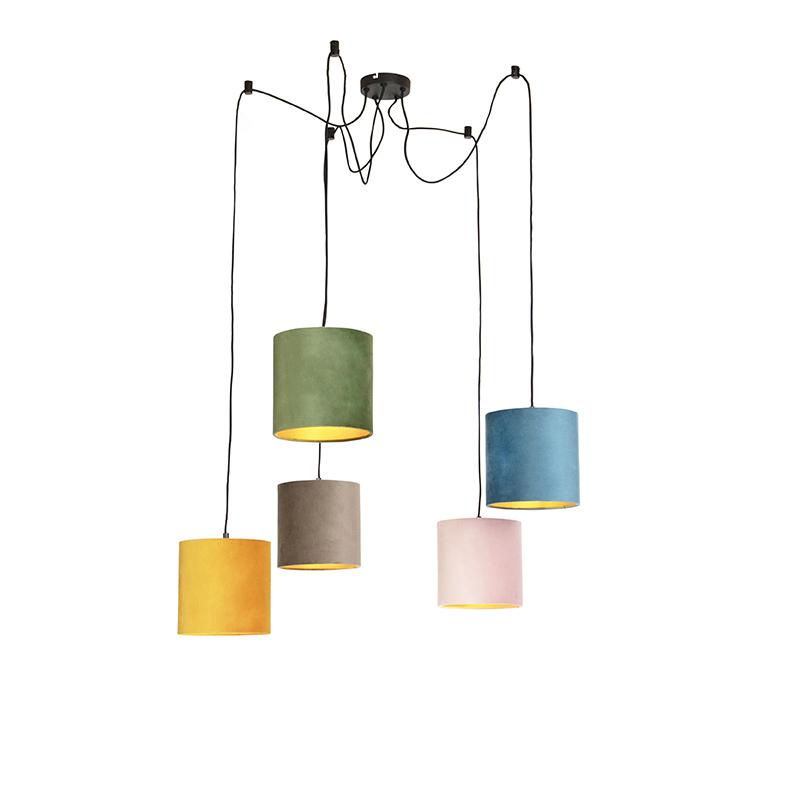 Hanglamp met 5 gekleurde velours kappen 20 cm - Cava