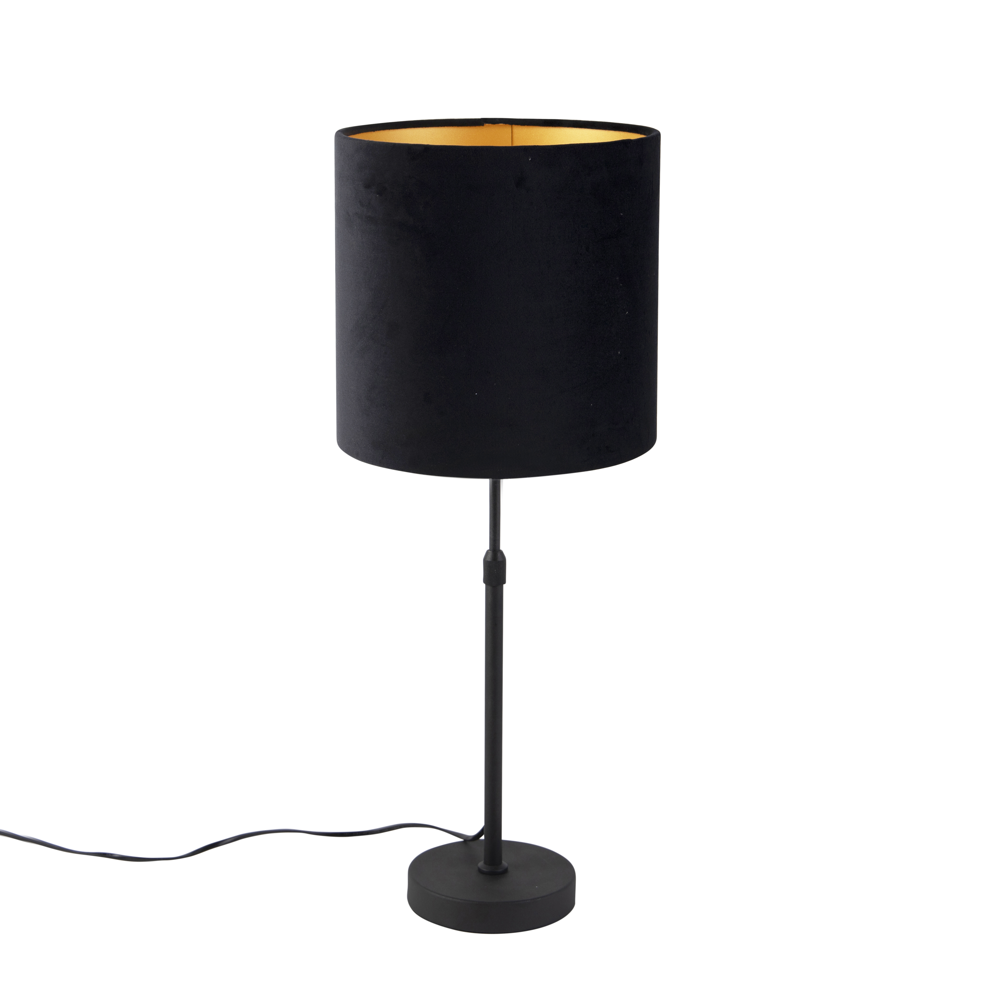 Tafellamp zwart met velours kap zwart met goud 25 cm - Parte