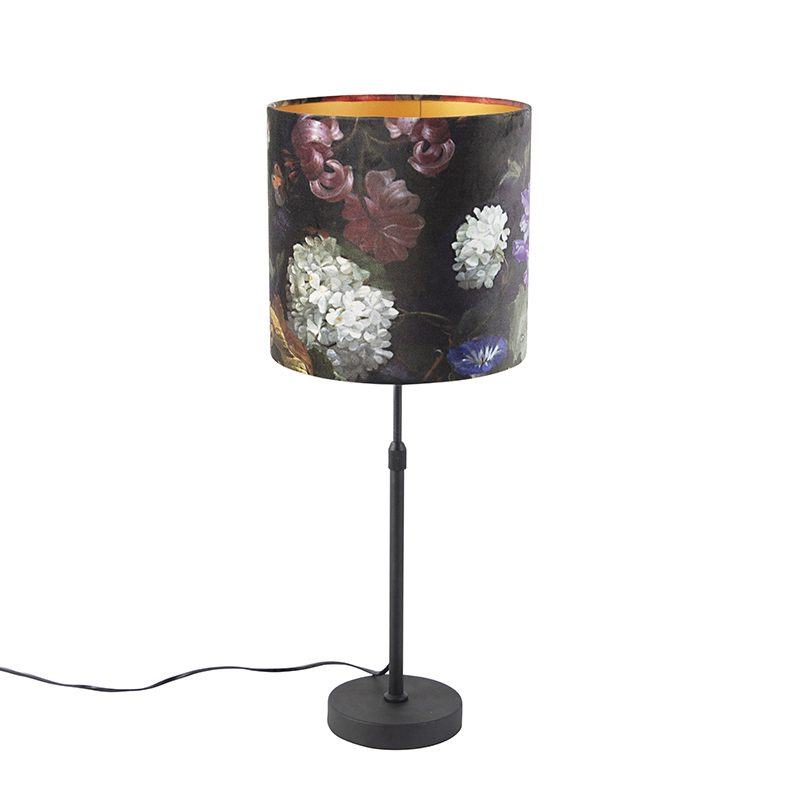 Lampa stołowa regulowana czarna klosz welurowy kwiaty 25cm - Parte