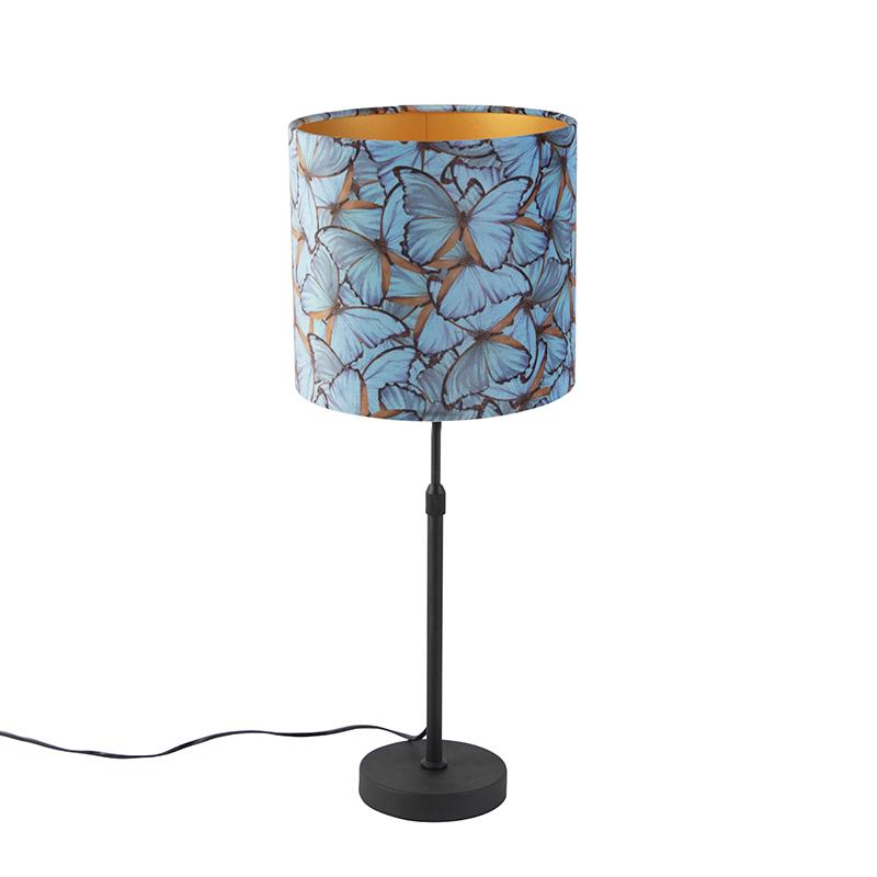 Tafellamp zwart met velours kap vlinders met goud 25 cm - Parte