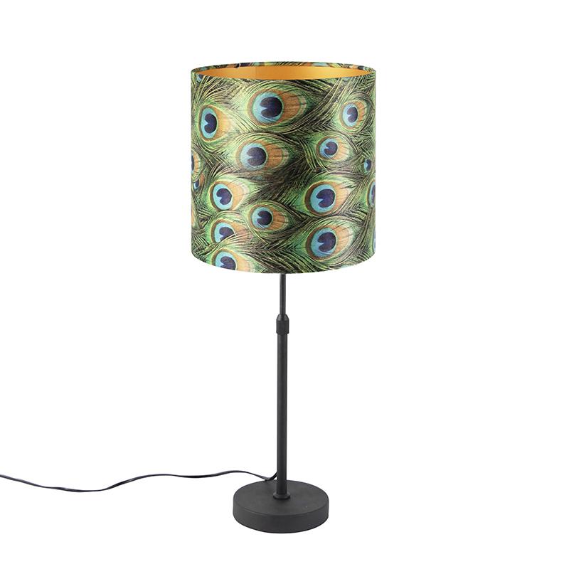 Tafellamp zwart met velours kap pauw met goud 25 cm - Parte