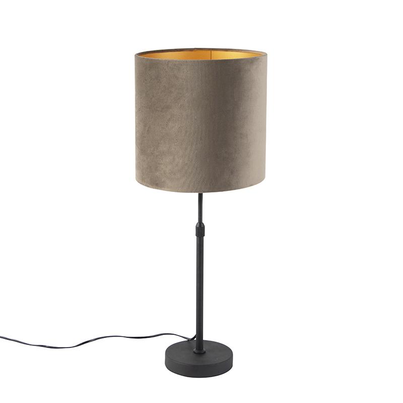 Tafellamp zwart met velours kap taupe met goud 25 cm - Parte