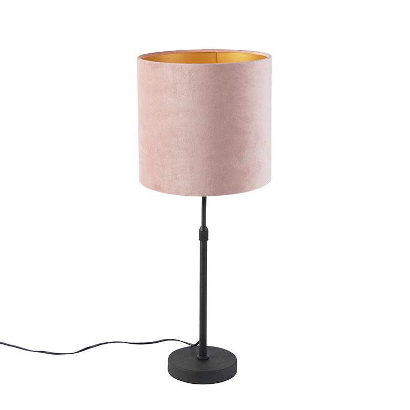 Zwarte tafellamp met velours kap roze met goud 25 cm - Parte