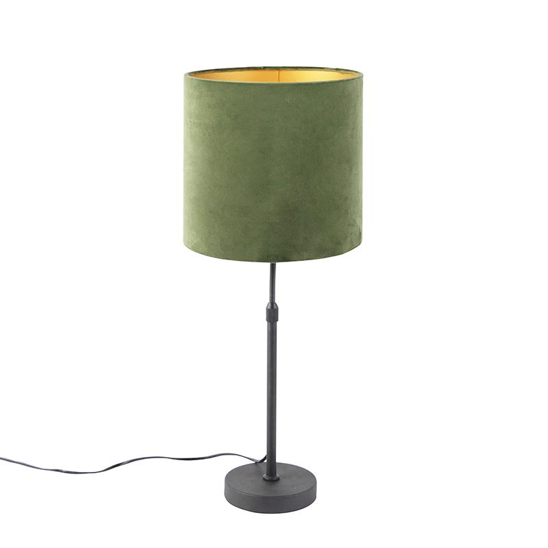 Tafellamp zwart met velours kap groen met goud 25 cm - Parte