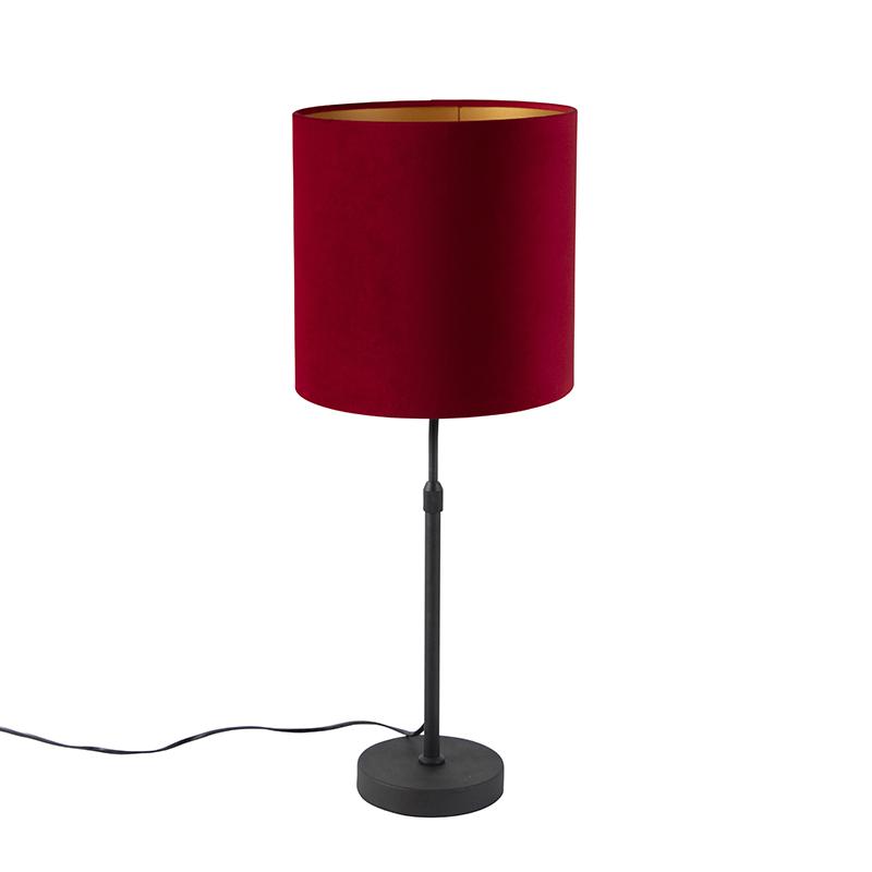 Tafellamp zwart met velours kap rood met goud 25 cm - Parte