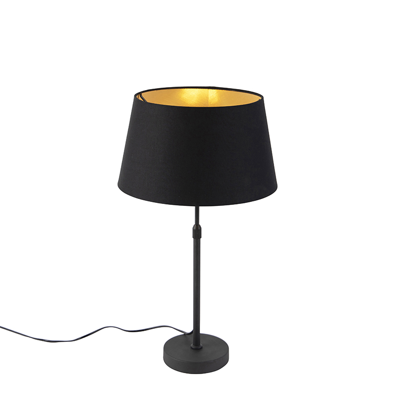 Zwarte tafellamp met katoenen kap zwart met goud 32cm - Parte