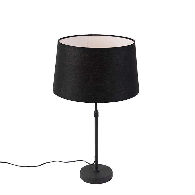 Zwarte tafellamp met linnen kap zwart 35cm - Parte