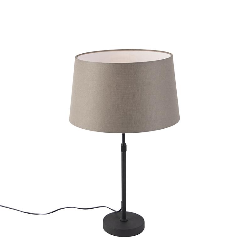 Zwarte tafellamp met linnen kap taupe 35cm - Parte
