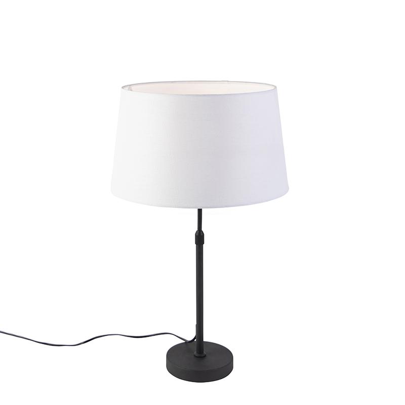 Zwarte tafellamp met linnen kap wit 35cm - Parte
