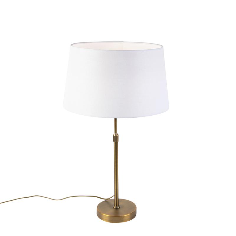 Bronze tafellamp met linnen kap wit 35cm - Parte