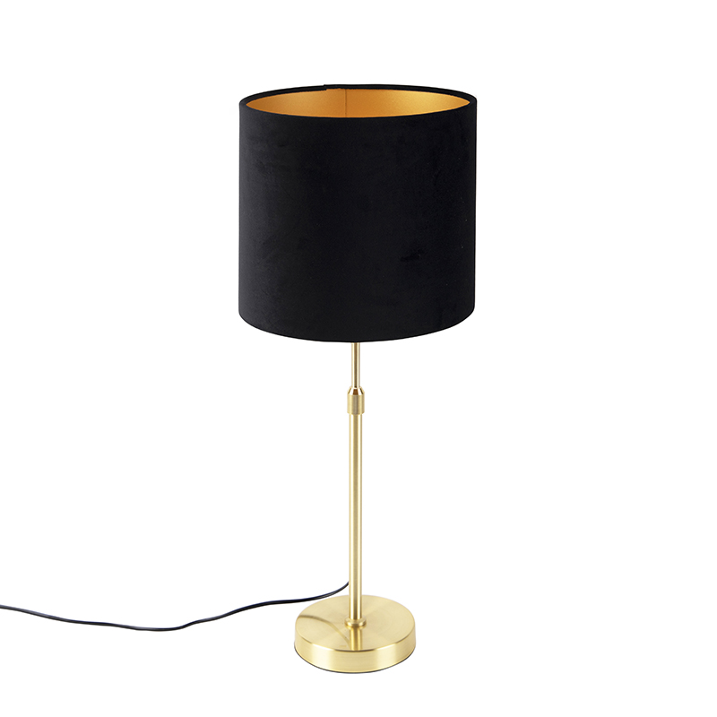 Tafellamp goud/messing met velours kap zwart 25 cm - Parte