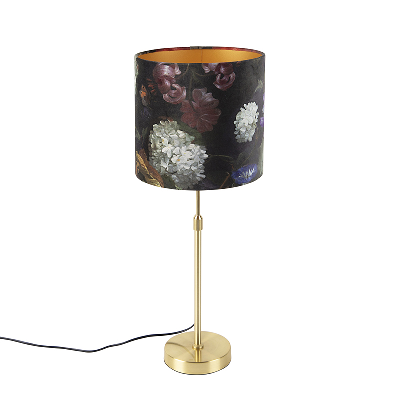 Tafellamp goud/messing met velours kap bloemen 25 cm - Parte