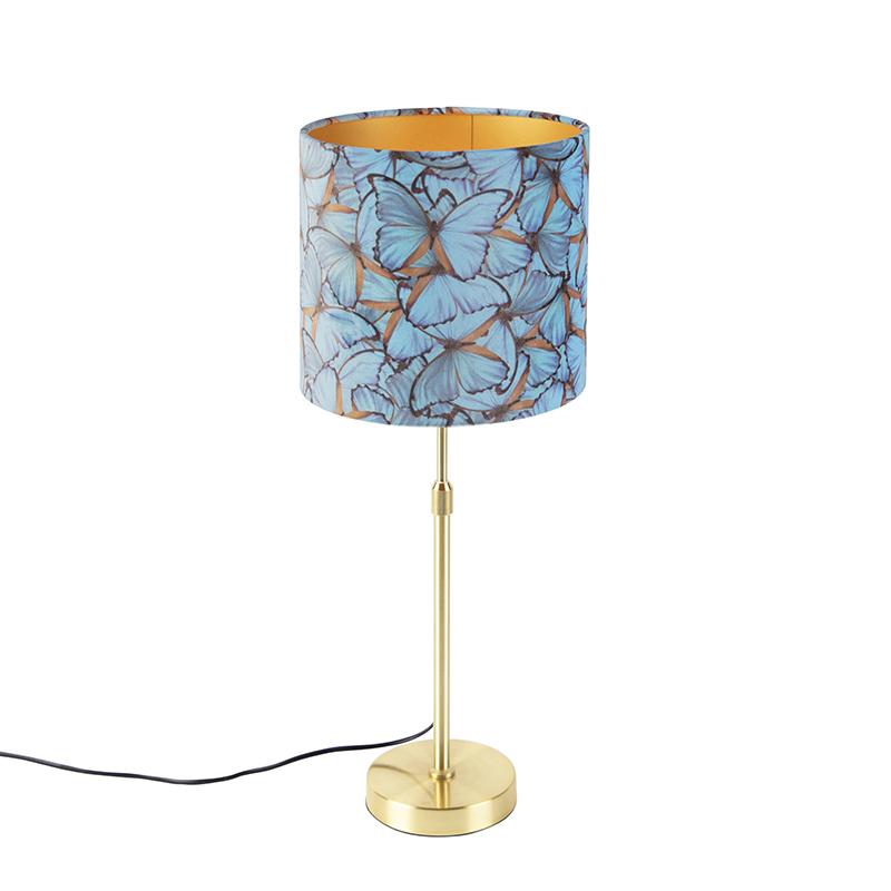 Tafellamp goud/messing met velours kap vlinders 25 cm - Parte