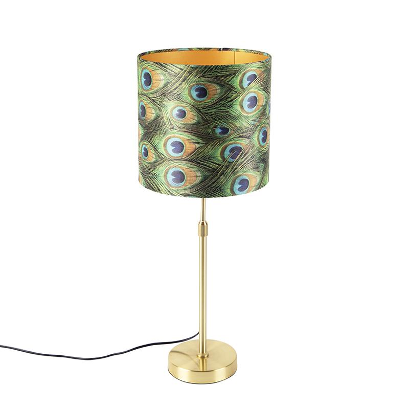 Tafellamp goud/messing met velours kap pauw 25 cm - Parte