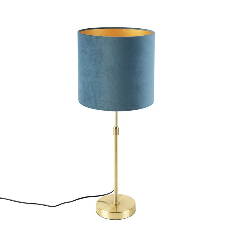 Gouden tafellamp met velours kap blauw met goud 25 cm - Parte