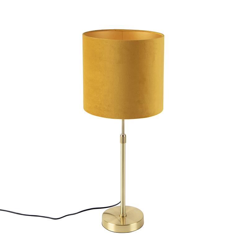 Gouden tafellamp met velours kap oker met goud 25 cm - Parte