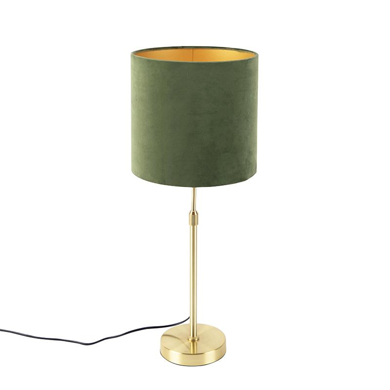 Tafellamp goud/messing met velours kap groen 25 cm - Parte
