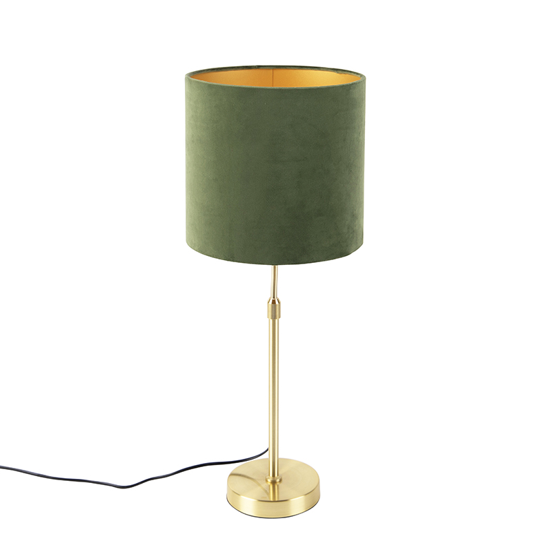 Gouden tafellamp met velours kap groen met goud 25 cm- Parte