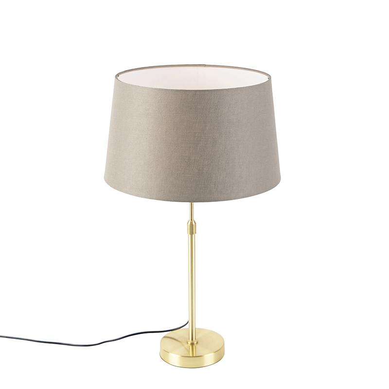 Gouden tafellamp met linnen kap taupe 35 cm - Parte