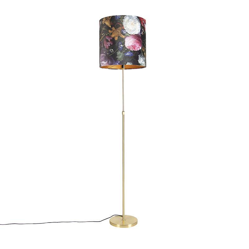 Vloerlamp goud/messing met velours kap bloemen 40/40 cm - Parte