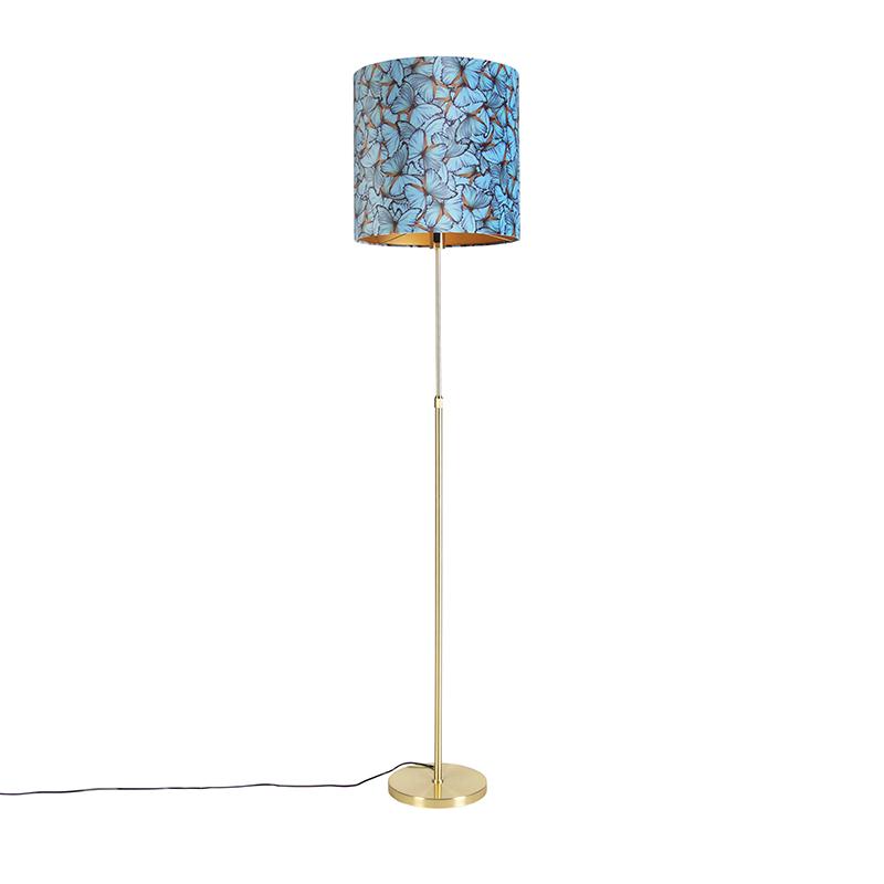 Gouden vloerlamp met velours kap vlinders met goud 40 cm - Parte