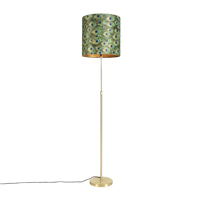 Gouden vloerlamp met velours kap pauw met goud 40 cm - Parte