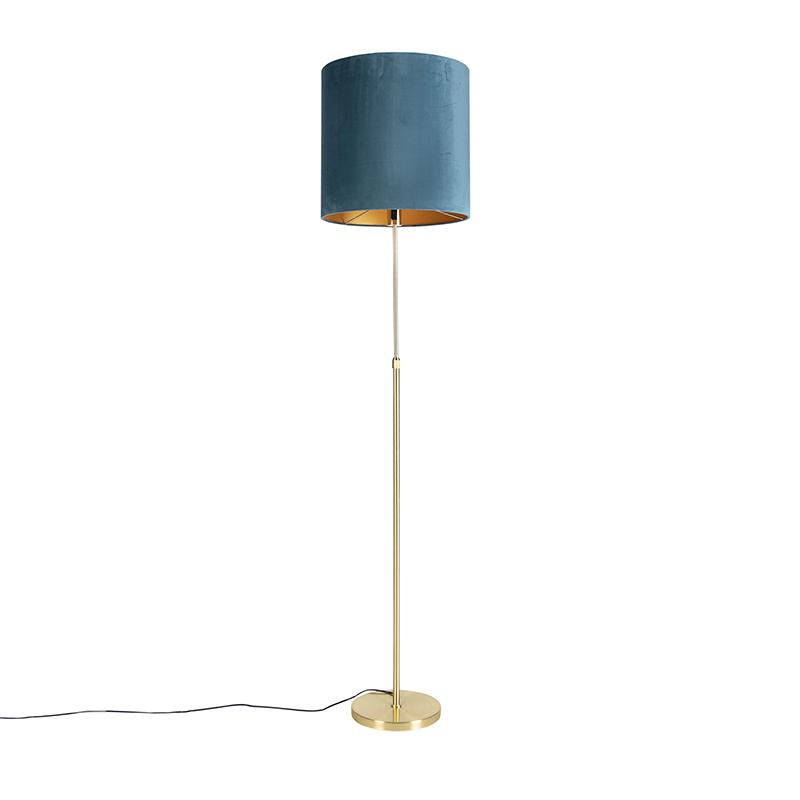 Gouden vloerlamp met velours kap blauw met goud 40 cm - Parte