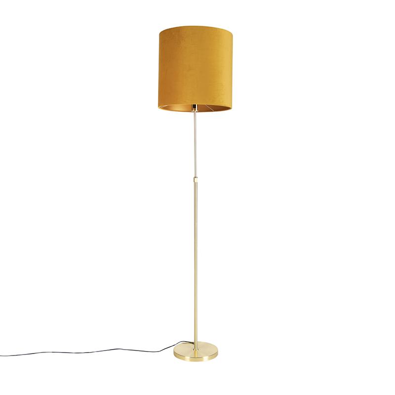 Gouden vloerlamp met velours kap oker met goud 40 cm - Parte