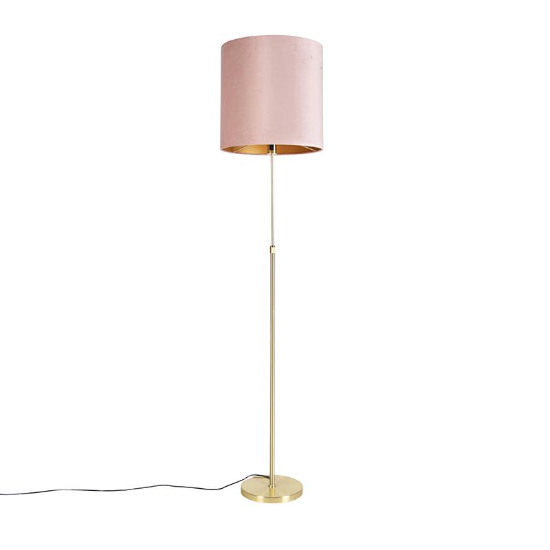 Gouden vloerlamp met velours kap roze met goud 40 cm - Parte