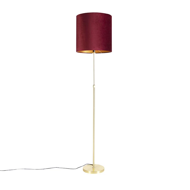 Lampa podłogowa regulowana złota/mosiądz klosz welurowy czerwony 40cm - Parte