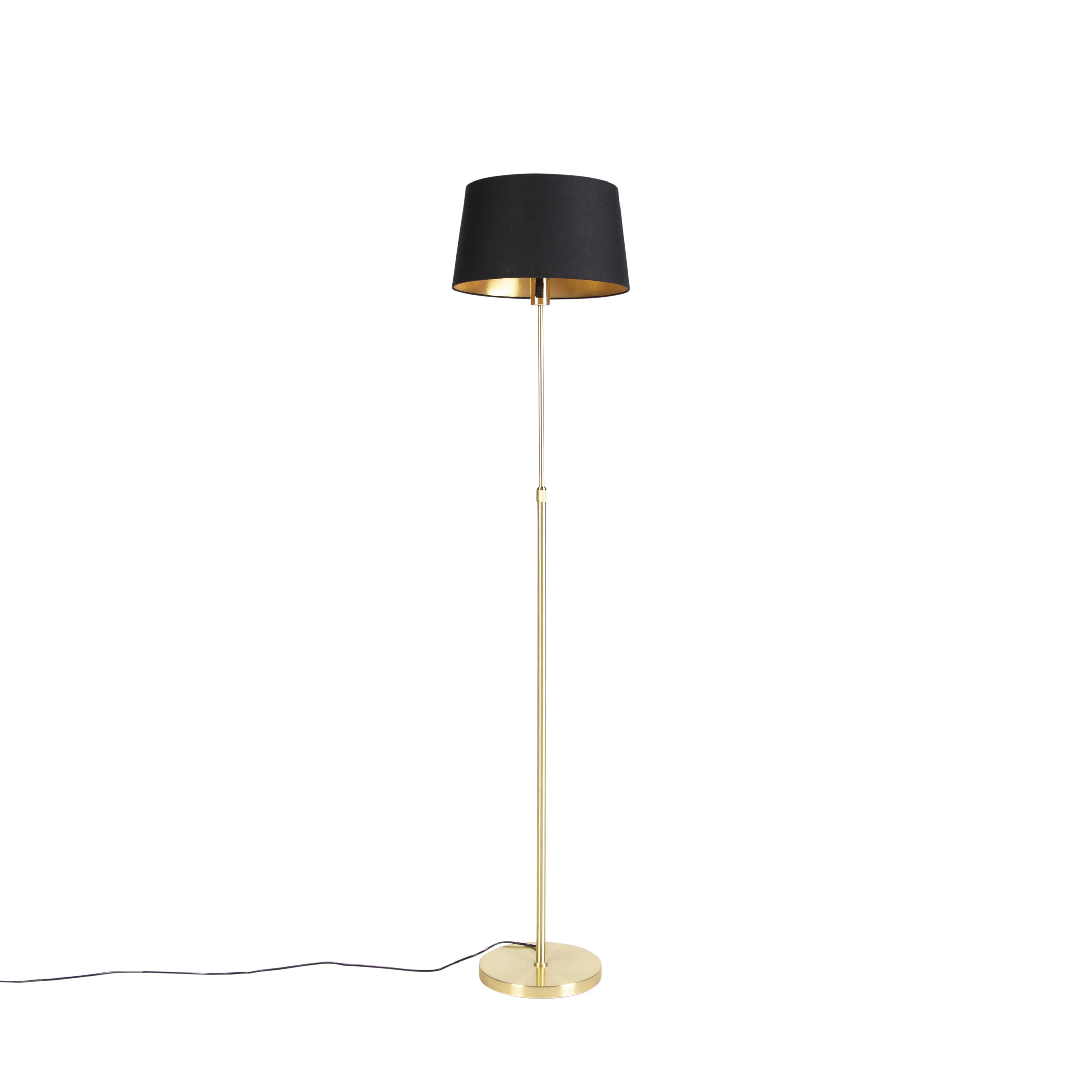 Gouden vloerlamp met katoenen kap zwart met goud 35 cm - Parte