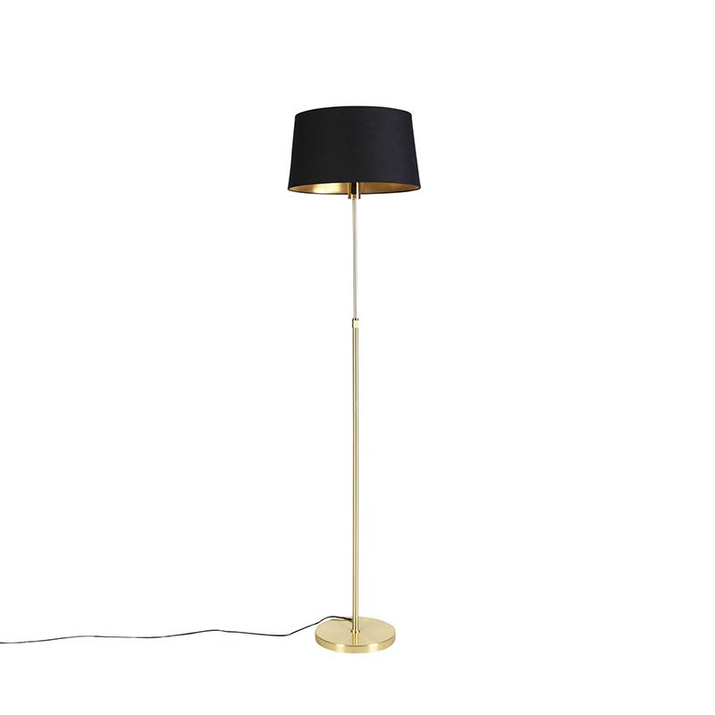 Vloerlamp goud/messing met zwarte kap 45 cm verstelbaar - Parte