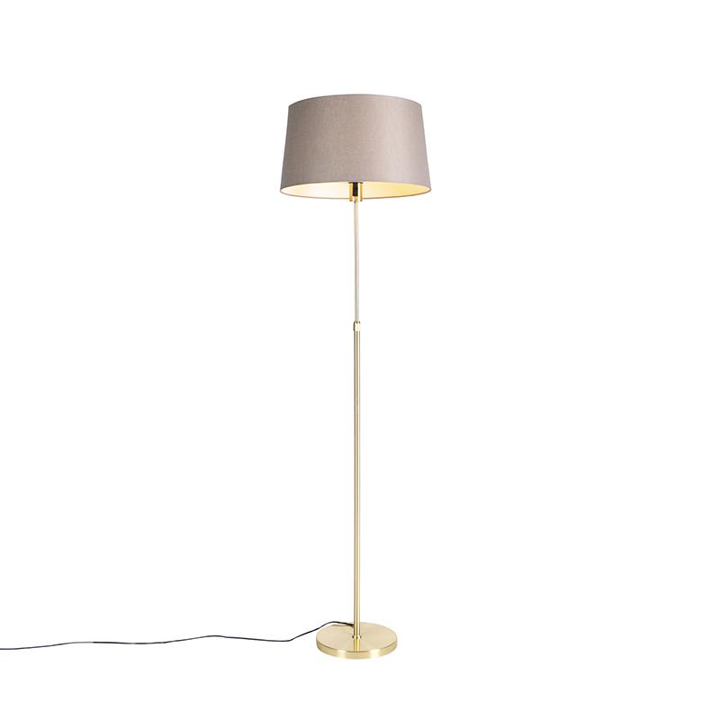 Gouden vloerlamp met linnen kap taupe 45 cm - Parte