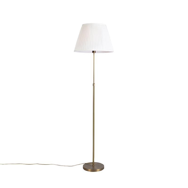 Vloerlamp brons met plisse kap cr�me 45 cm verstelbaar - Parte