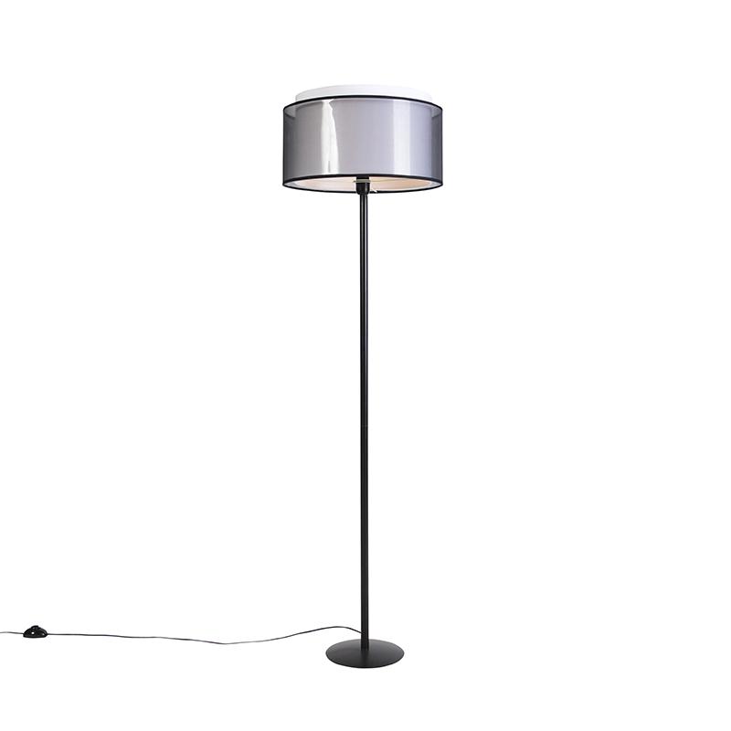 Zwarte vloerlamp met duo kap zwart/wit 47 cm - Simplo
