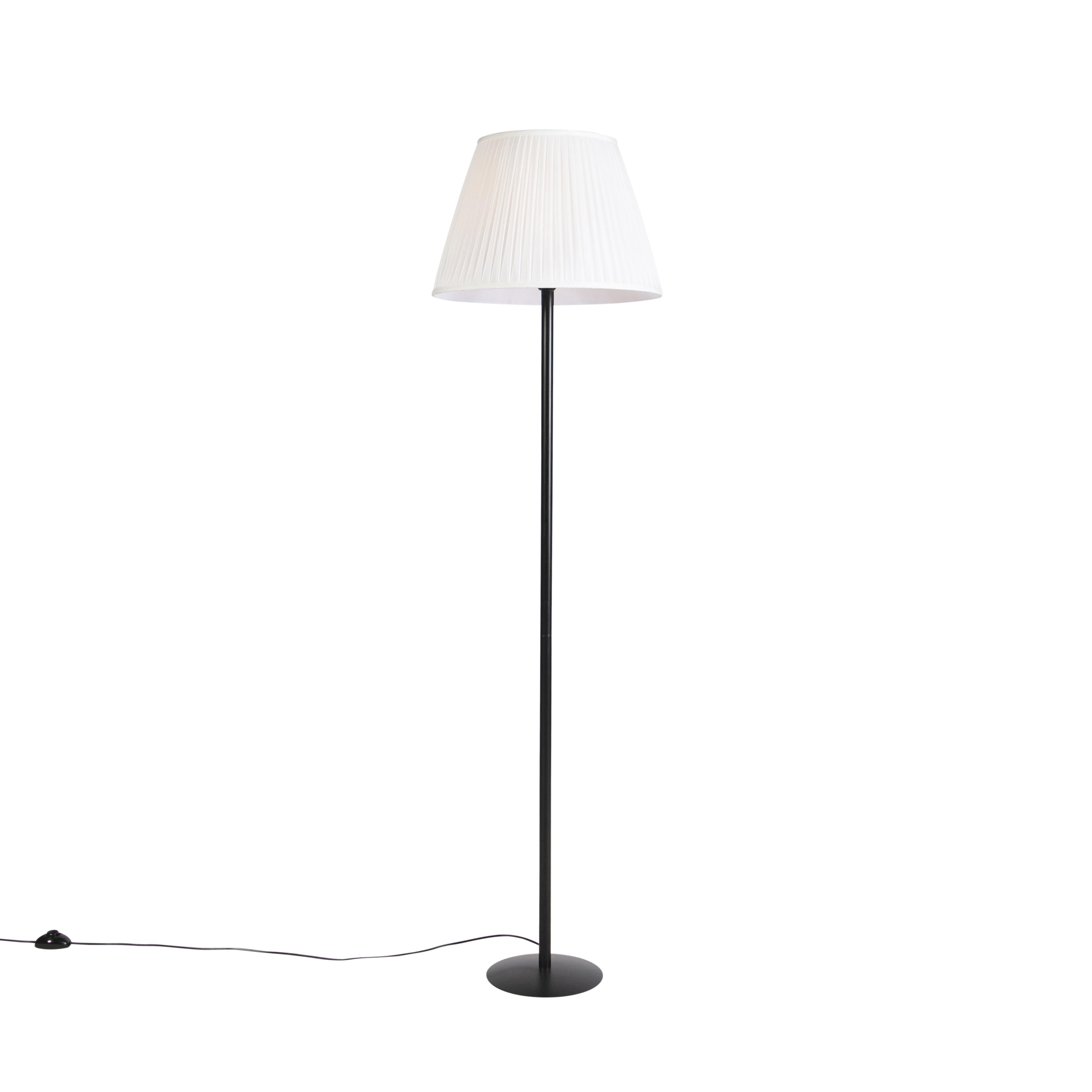 Moderne vloerlamp zwart met witte plisse kap 45 cm - Simplo
