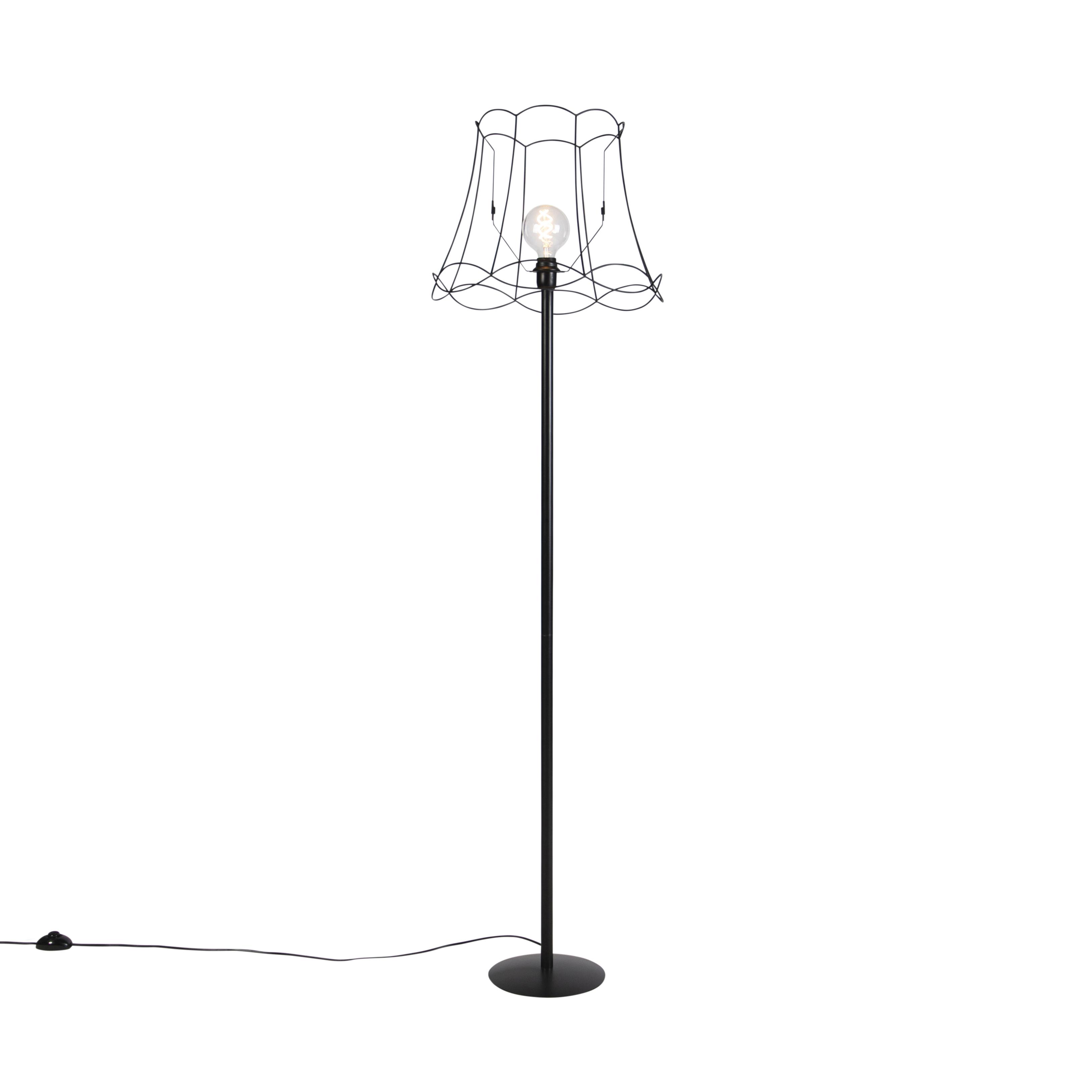 Zwarte vloerlamp met Granny Frame kap zwart 45 cm - Simplo
