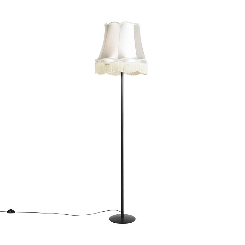 Retro vloerlamp zwart met Granny kap cr�me 45 cm - Simplo