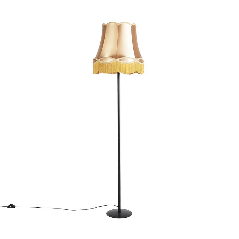 Retro vloerlamp zwart met Granny kap goud 45 cm - Simplo