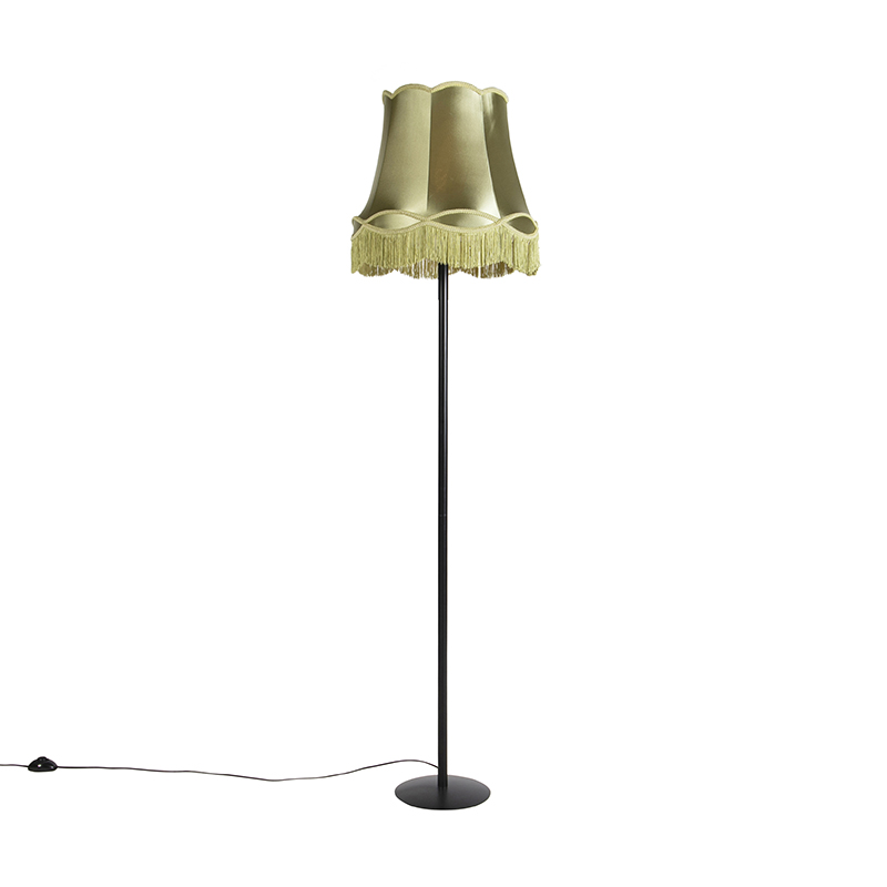 Zwarte vloerlamp met Granny kap groen 45 cm - Simplo