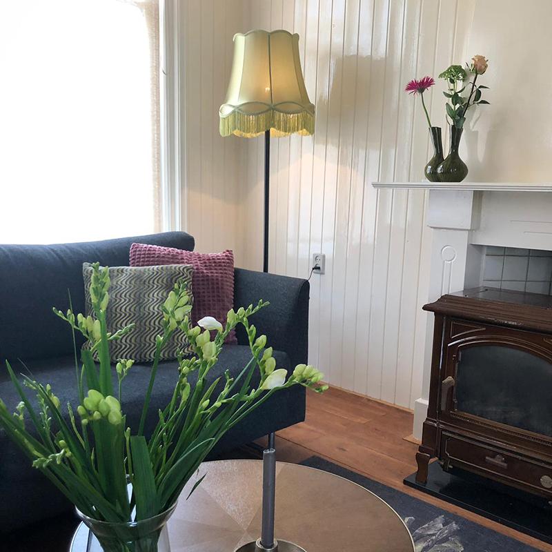 Retro vloerlamp zwart met Granny kap groen 45 cm - Simplo