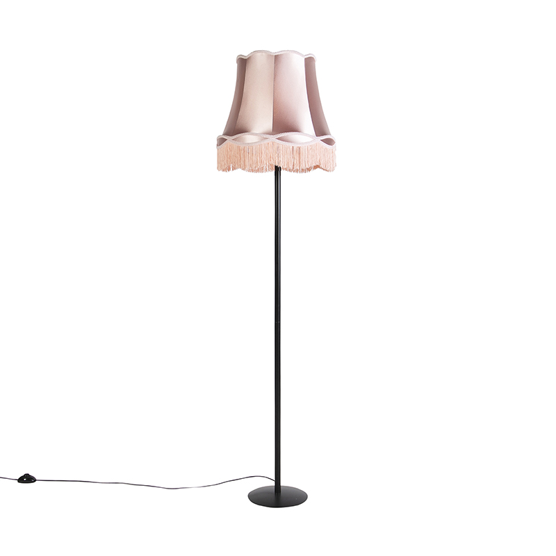 Retro vloerlamp zwart met Granny kap roze 45 cm - Simplo