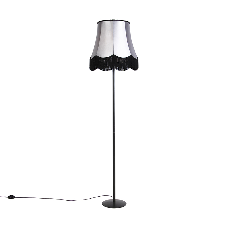 Zwarte vloerlamp met Granny kap zwart met grijs 45 cm - Simplo