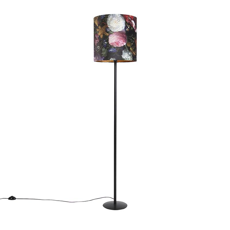 Lampa podłogowa czarna klosz welurowy kwiaty 40cm - Simplo
