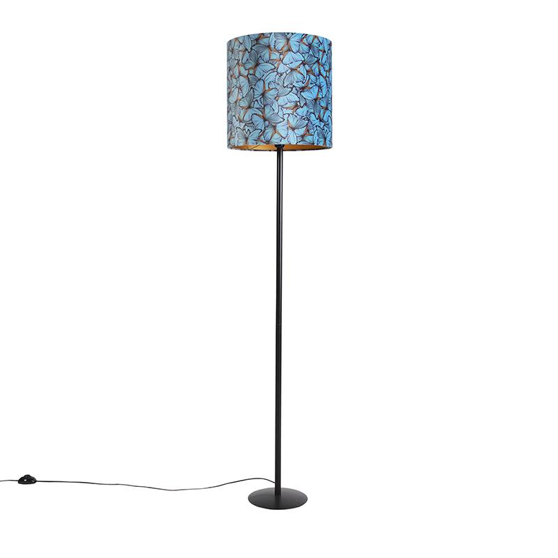 Zwarte vloerlamp met velours kap vlinders met goud 40 cm - Simplo
